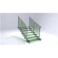 Laminated Glass Stairs with Matte Surface Finish, Made of Stainless Steel