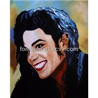 Michael Jackson portrait oil painting, hand made painting