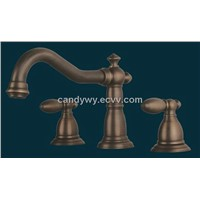 Two Handles Bathroom Antique Brass Faucet (F-5007)