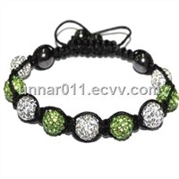 White Green Color Charming Clay Pave Crystal Shamballa Bracelet