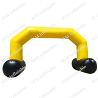 Yellow and black inflatable arches