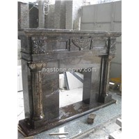 dark emperador marble fireplace