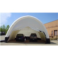 giant white inflatable shelter used as car garage