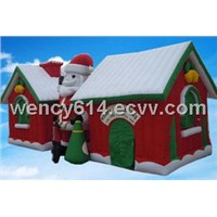 inflatable christmas house with santa claus