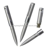 metal pen shape usb flash drive with laser logo