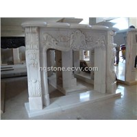 white marble carving fireplace mantel