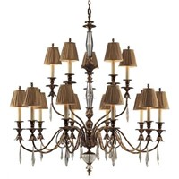 12-Lights Contemporary Foyer Chandelier VT2465-8+4 with Fabric Lampshade