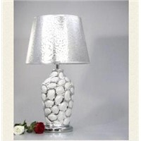 1 Light Ceramic and Metal Art Silver Table Lamp in Green and Gold VT801 Silver