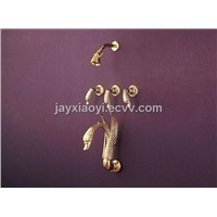 5pcs gold pvd finish brass swan wall mounted faucet swan shower faucet