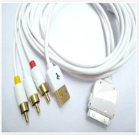 AV+TV+RCA+USB Video Cable for iPhone 3G 3GS iPod Touch Nano(white)