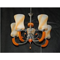 Colorful Glass Iron Chandelier