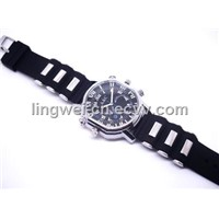 H.264 Waterproof DV Watch Camera 4GB Mini Hidden Camera Watch Black Watch DVR AVI (LW-HW200C)