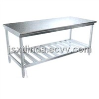 Stainless steel bench with grid underframe