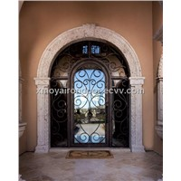 Wrought iron double entry door, weather stripping exterior entrance door