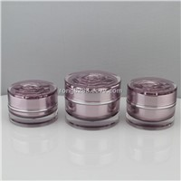 acrylic jars for cosmetics and lid of the purple