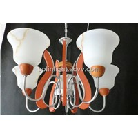 Alabaster Chandelier / Amber Glass