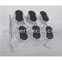 clear glass spice bottles