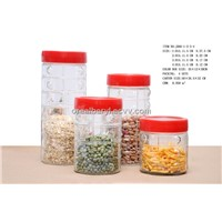 Four Glass Storage Jars Set