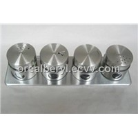 four stainless steel glass comdiment jar set