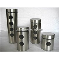four stainless steel glass jar set