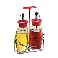 glass condiment bottles with stand