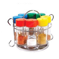 glass spice bottles with color lids