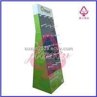 pop design paper display stand with hooks for mobile accessories