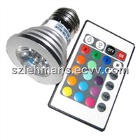 LED E27 3W RGB Spotlight with Remote Controller