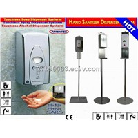 304 stainless steel Hand sanitizer floor stand with disinfectant dispensers.