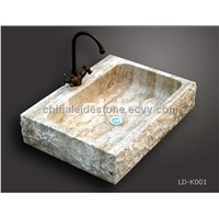 Beige travertine kitchen sink LD-K001