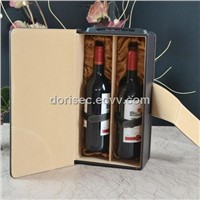 Browm Leather Wine Box with Two Bottle