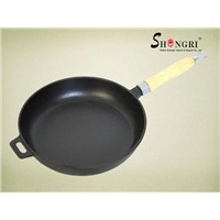 Cast-Iron Frying Pan with Wooden Handle