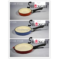 Cast iron enamel fry pan with Bakelite handle