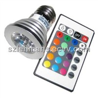 Dimmable E27 E14 GU10 MR16 3W RGB LED Spotlight