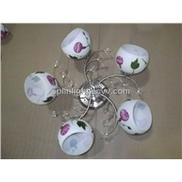 Flower Glass Iron Ceiling Chandelier