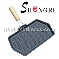 Hexagonal cast iron frying pan