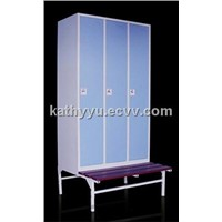 Hot selling metal locker with bench for GYM/changing room