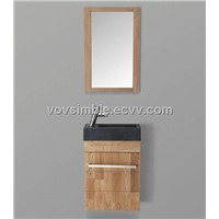 SIMBLE wall oak bathroom cabinet,with natural granite basin,single mirror