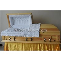 american style cremation wooden casket with metal handles