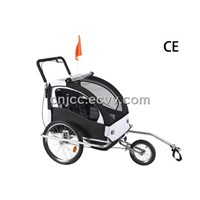 Black Bicycle Baby Trailer with Rear Shock