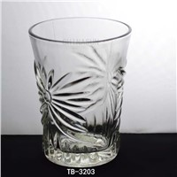 Carvd clear glass water mug tea cup 300ml