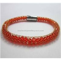 Crystal Bracetlet with Stainless Steel Net, Magnetic Clasp
