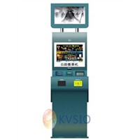 Dual screen card vending kiosk