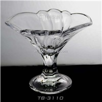 Flower shape glass ice cream cup with smooth surface 220ml