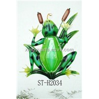 Glass Design Hanging Ornament With Frog Image