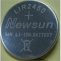 LIR2450 lithium rechargeable coin cell battery with pins