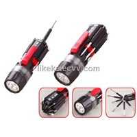 Multi function screwdriver with LED torch
