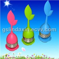 leaf shape silicone tea infuser with stainless steel bottom & tea strainer