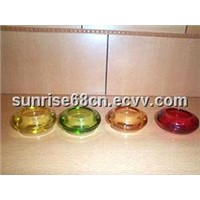 various color glass candle holder