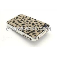 Crystal Mobile Phone Cover for iPhone 4, with Leopard Line Pattern Design
